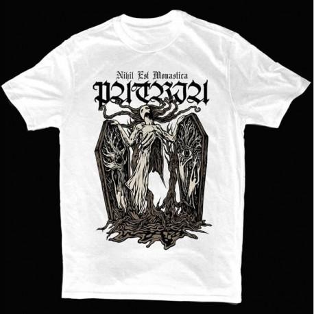 """Patria """"Nihil Est Monastica"""" Camiseta Branca Feminina"""